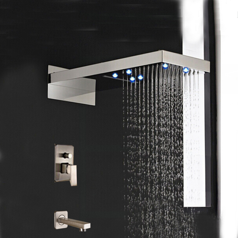 LED Brushed Nickel Waterfall Rain Shower Faucet 3 Ways Mixer Tap W/Tub Spout Tap