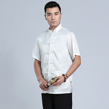 Chinese Tradtional Summer Tops Men Silk Blend Short-Sleeves Shirt Size M-3XL