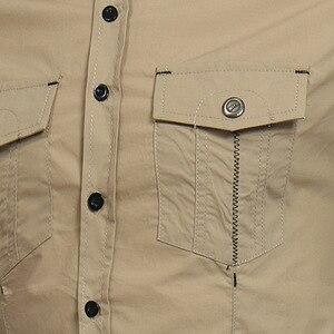 Image 5 - Chemise tactique pour hommes, à manches longues, en coton, de marque, respirante, Slim, Style Safari, 2018