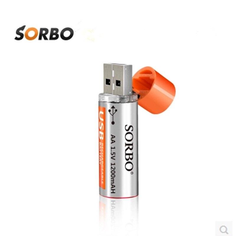 Nova chegada recarregável lipo bateria sorbo 1.5 v 1200 mah usb recarregável 1 hora de carregamento rápido aa li-po bateria