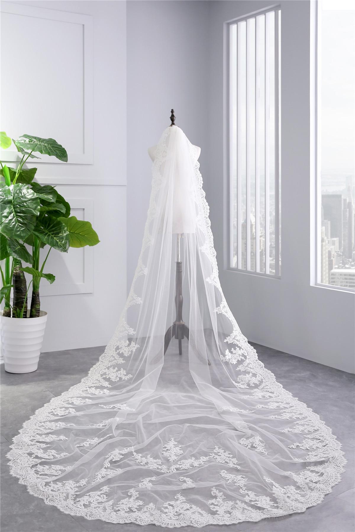 3 M voile de mariage cathédrale une couche dentelle appliqué longs voiles de mariée avec peigne femme marier cadeaux 2018 nouveaux accessoires chauds