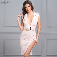 Adyce 2018 New Spring Woman Bodycon Knee Length Royal Dresses Sexy Button Studded Deep V Neck Vestidos Celebrity Party Dresses