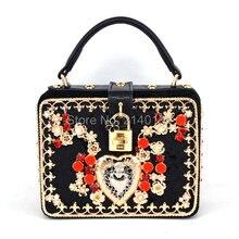 Luxus mode-design für hochwertige farbe diamant wildleder PU frauen handtasche lock-box umhängetasche flap messenger bag