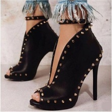 Newest Black Leather Rivet Ankle Boots Peep Toe Cut-out Ankle Strap High Heel Spike Boots Deep V Style Laides Shoes Dress Shoes