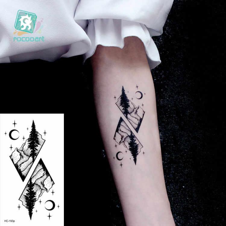 Tatuaje de transferencia de agua minimalista pequeño sol Luna tatuaje arte corporal a prueba de agua falsos temporales tatuaje para hombre mujer chico 10,5*6 cm