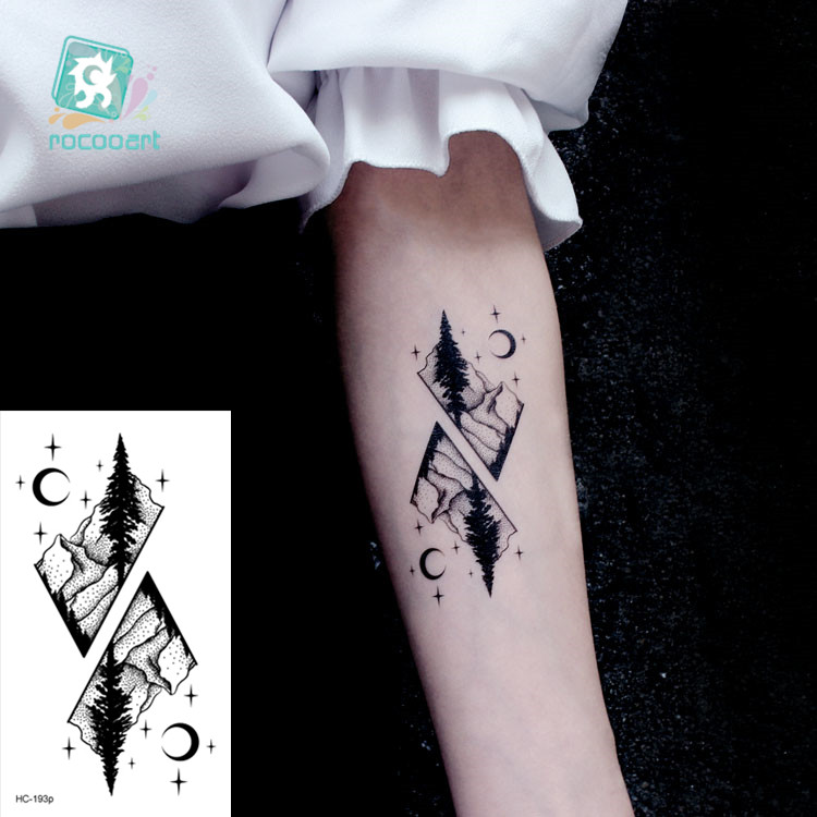 Waterproof Temporary Tattoo Stickers Moon Hill Forest Star Fake Tatto Flash Tatoo Tatouage Body Art Hand Foot For Girl Women Men