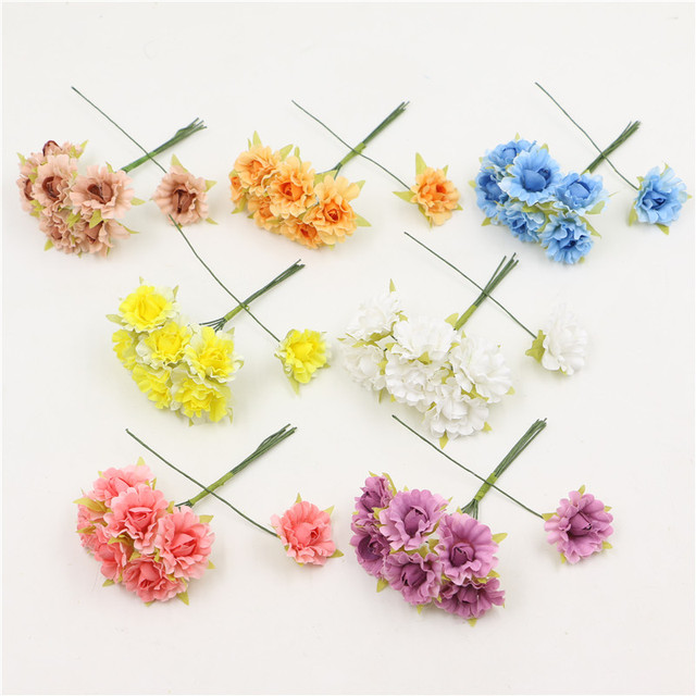 Mini artificial flowers silk rose with stem decorative flowers diy mini artificial flowers silk rose with stem decorative flowers diy craft wedding decoration flower gift scrapbooking mightylinksfo