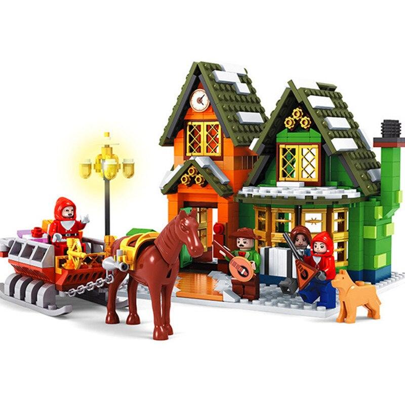 860Pcs Winter Village Post Office City Advent Calendar Christmas Santa's Workshop Building Block Compatible with Legoinglys