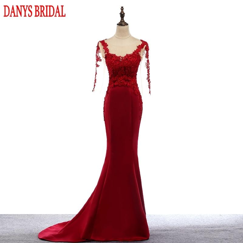 Abiti da sera lunghi sirena di pizzo rosso partito in raso perline belle donne abiti da sera formale abiti abiti in vendita abendkleider