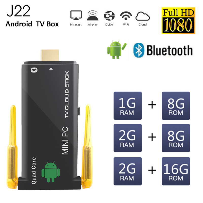 Tv Stick J22 Rockchip Rk3229 Quad Core Android 5.1 2 GB 8 GB Smart TV Box Wifi Bluetooth 4.0 Mini PC Android Smart TV Smart Home