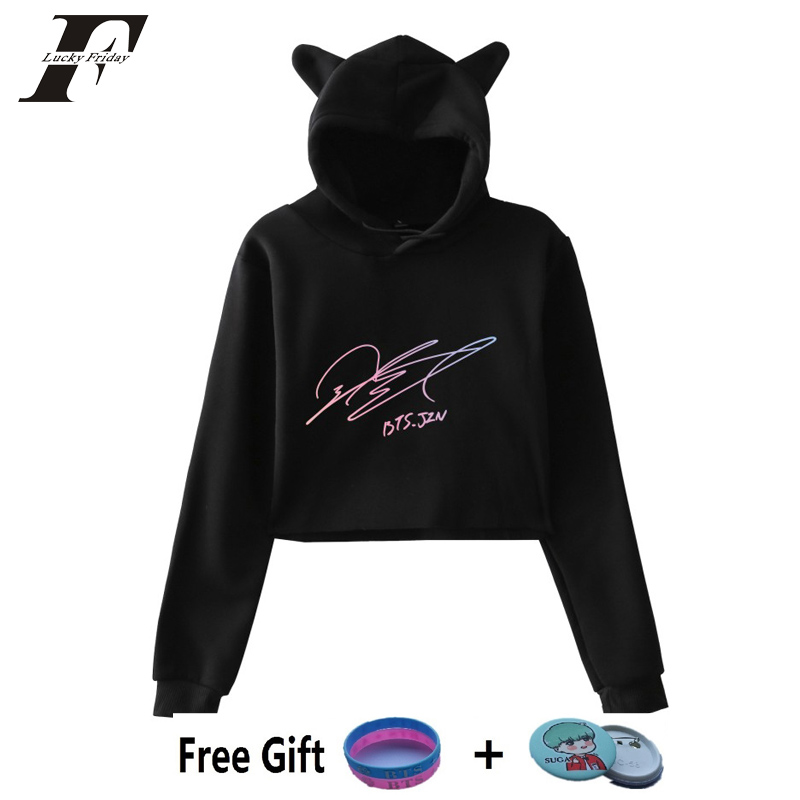 2018 BTS Album bts Love Yourself Tear Fake Love Kpop cropped Hoodies Sweatshirt Sexy Cat Hooded Pullover crop top hoodie WOMEN