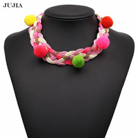 2017 Fashion Strand Balls Necklace Chocker Chain Pendant Statement Maxi Necklace For Women Jewelry