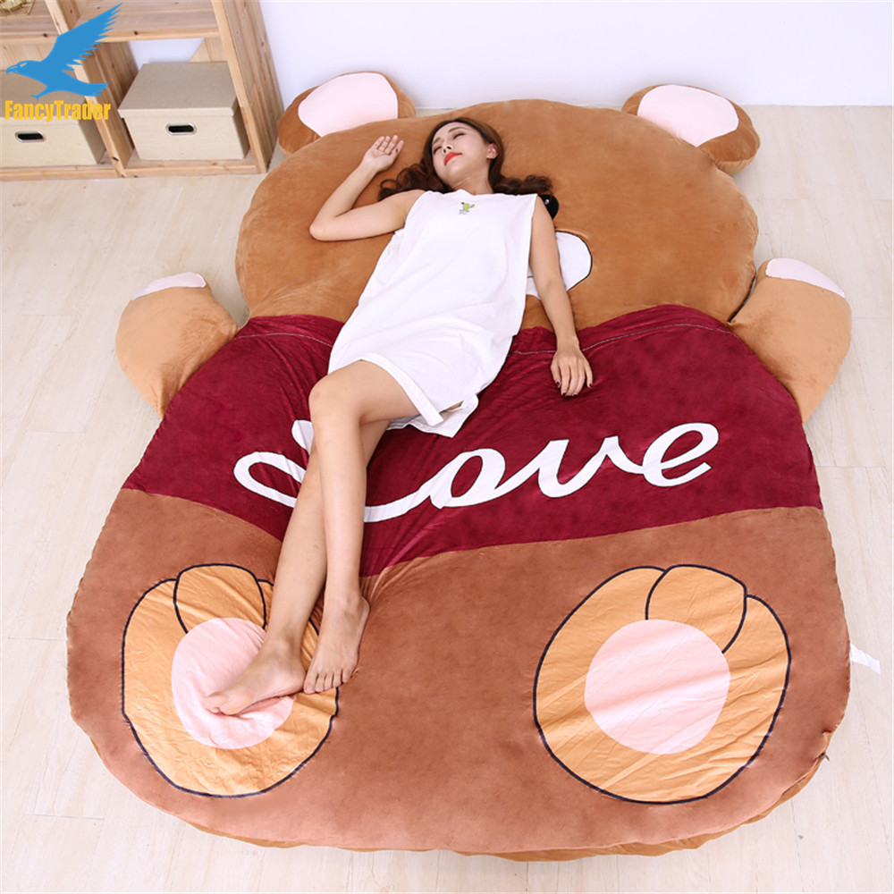Fancytrader 2018 Giant Plush Stuffed Cartoon Love Bear Sofa Bed Sleeping Bed with Padding 2 Sizes Great Novelty Gift