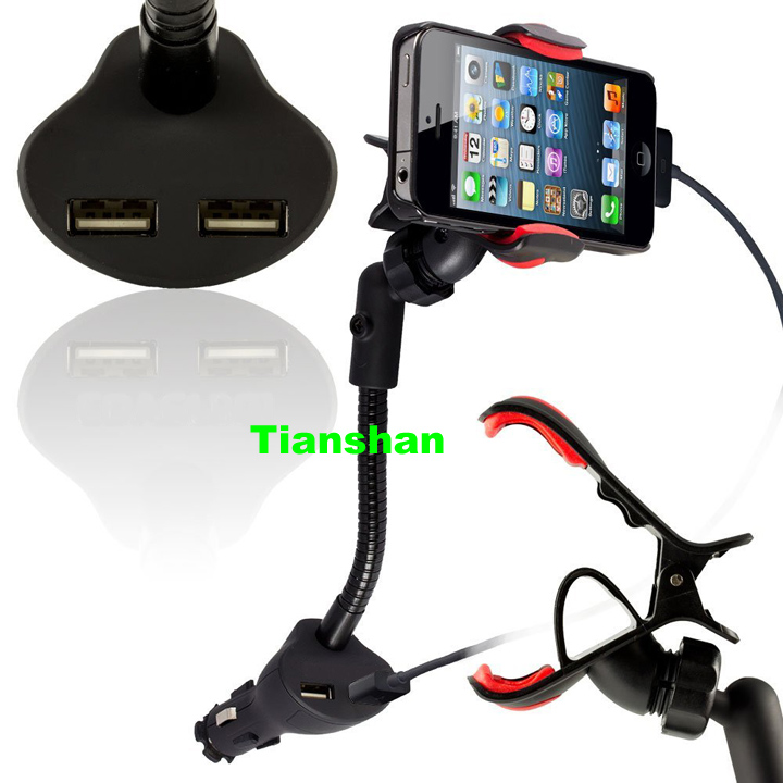 30fc57d80b7eb6 Dual 2 USB Car Charger Cradle Mount Holder Stand in Cigarette Lighter for  iPhone 5S 4S 4 3GS iPod Samsung Galaxy S5 S4 Note 3