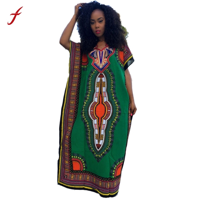62964e341 Hot Sale 2019 New Fashion Design Sexy Traditional African Clothing Print  Dashiki Nice Neck Embroidered African Dresses for Women