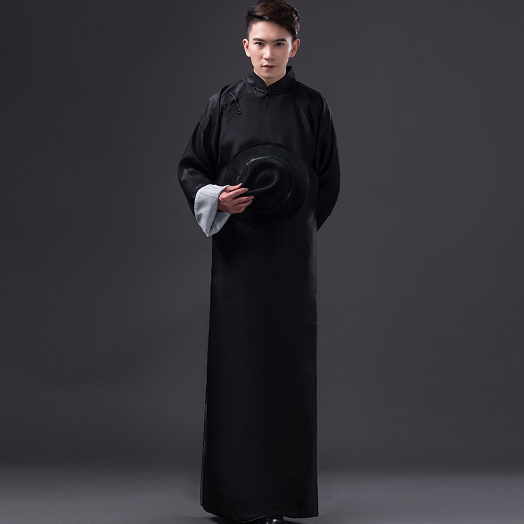Black Ancient robes male May 4th republic of China students teach kung fu gown crosstalk gown