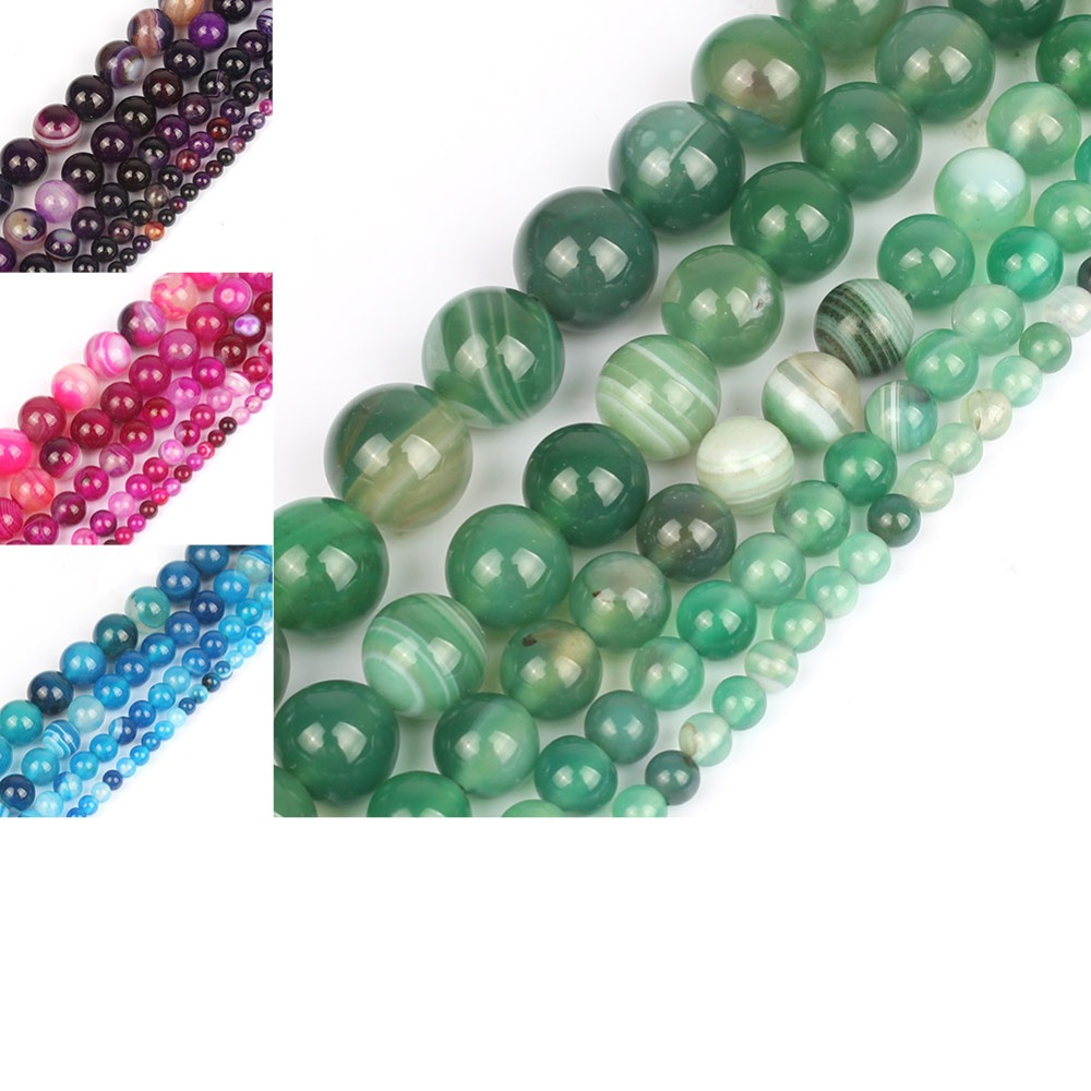 Smooth Striated Agate Onyx Round Loose Beads For Jewelry Making 15.5inch Pick Size 4 6 8 10 12mm (Blue/rose /green/purple)Smooth Striated Agate Onyx Round Loose Beads For Jewelry Making 15.5inch Pick Size 4 6 8 10 12mm (Blue/rose /green/purple)