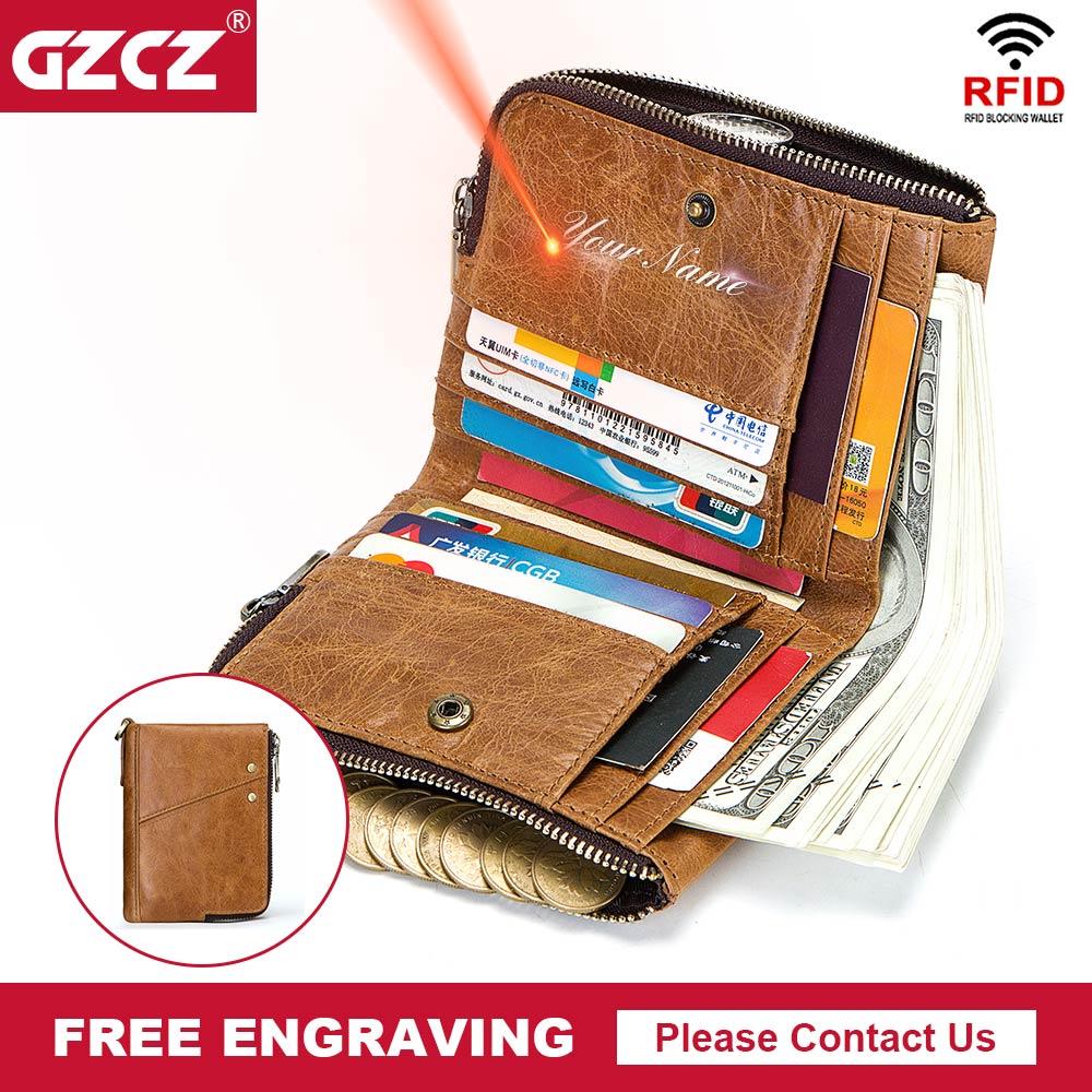 GZCZ RFID Woman Wallet Vintage Bifold WomenS Genuine Leather Wallets Zipper Poucht Lady Purse Card Holder Portomonee Money Bag