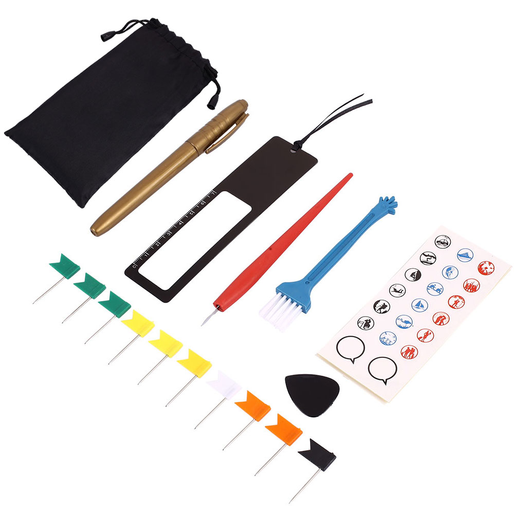 Diy Scratch Pen Set Maps Accessories 8pcs/Bag Flags Marker Travel School Supplies Educational Gift Office Memory Sticker
