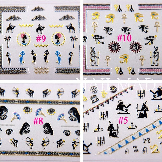 1 sheet NailMAD Horus Egyptian Nail Art Sticker Egyptian Eye of Horus 3D Nail Sticker Sphinx Nail Sticker 2