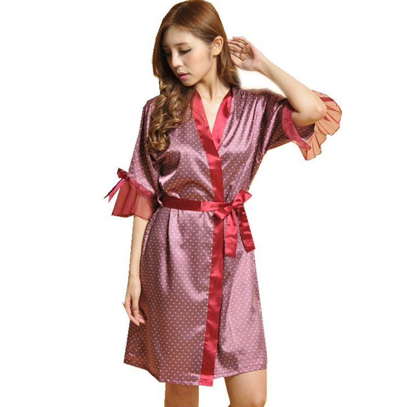 Brand Polka Dot Female Floral Kimono Dress Gown Chinese