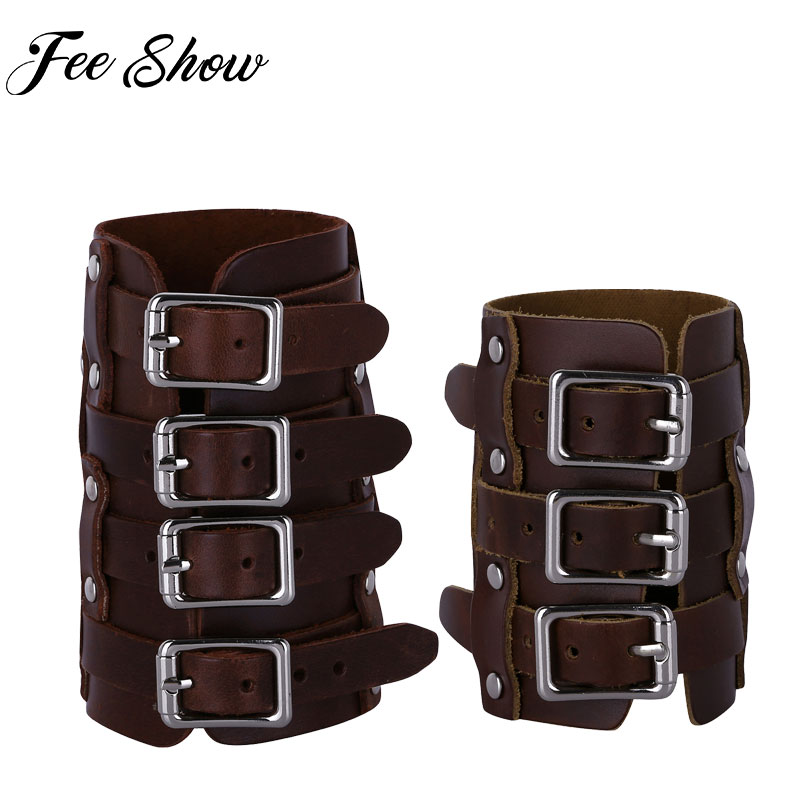 FEESHOW Unisex Punk Faux Leather Gauntlet Warrior Wristband Wide Medieval Bracers Protective Arm Armor Cuff