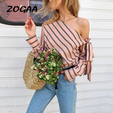 ZOGAA Striped One Shoulder Bowtie Womens Shirts Sexy Skew Collar Long Sleeve Women Blouses 2019 Spring Summer Casual Top Female