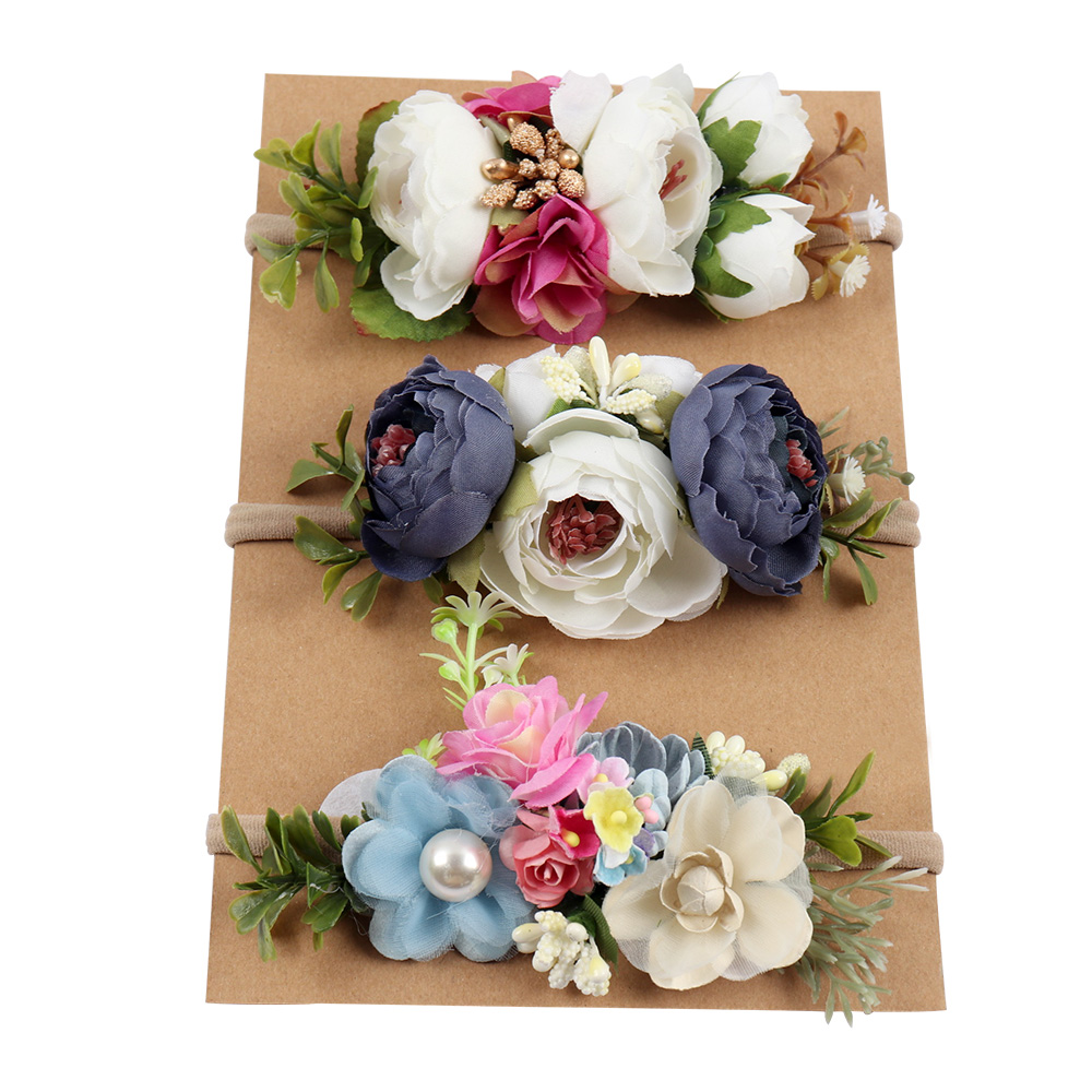 d0b6ecbb1a4 Artificia Flowers Nylon Headbands For Girls Summer Beach Wreath Elastic  Bands Floral Hairband Kids Hair Accessories