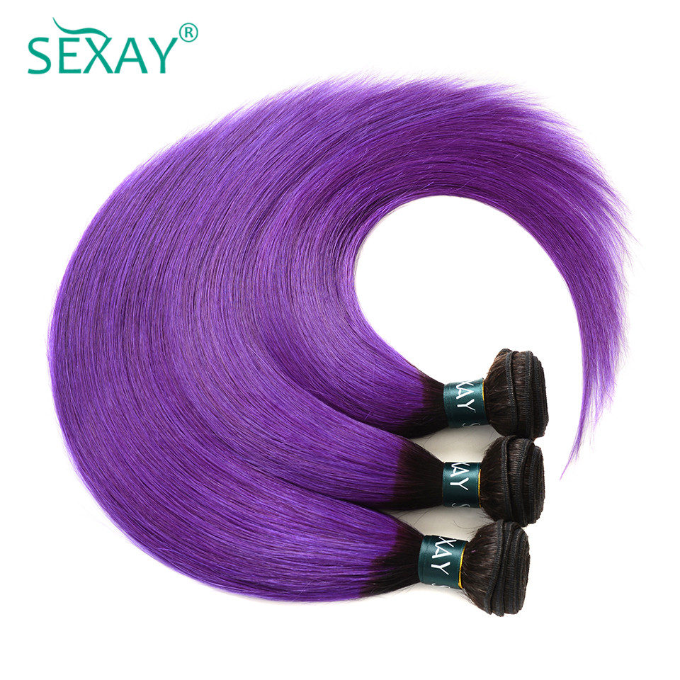 Sexay Ombre Brazilian Straight Hair Weave 2 Tone 1B Purple Brazilian Straight Human Hair Bundles Pre-colored Non-Remy Human Hair