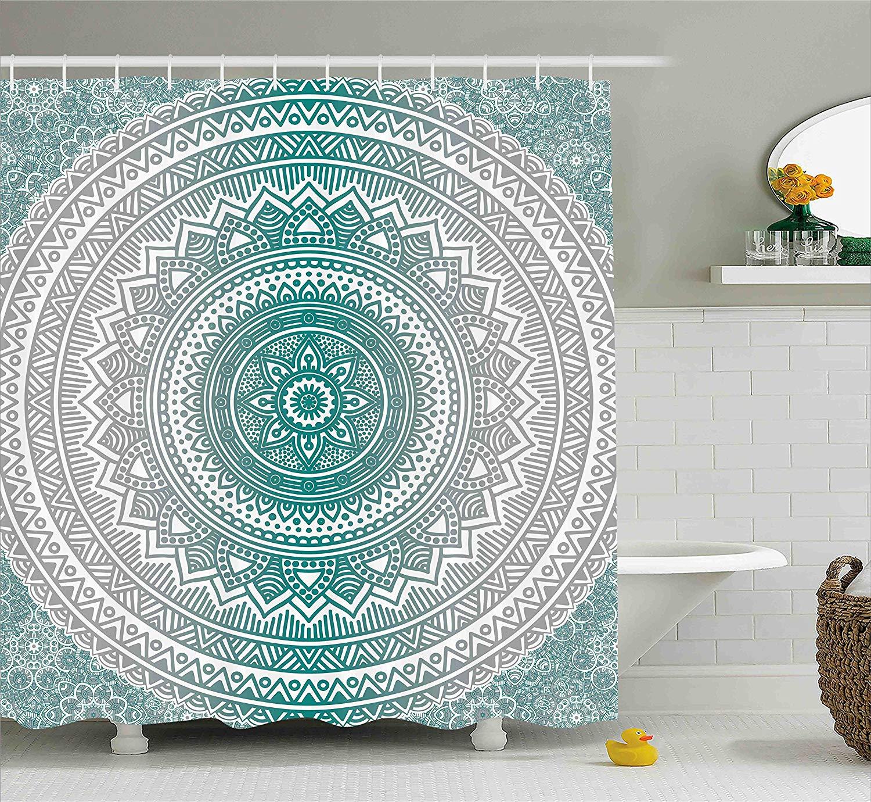 Us 14 17 38 Off Grey Teal Shower Curtain Mandala Ombre Design Sacred Space Geometric Center Point Boho Meditation Art Fabric Bathroom Decor In