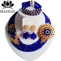 De moda de La Boda Nigeria Royal Blue beads africanos joyería conjunto de cristal collar pendientes pulsera Envío gratis Majalia-002