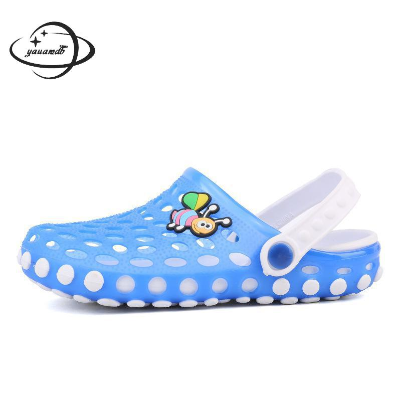 YAUAMDB kids Mules 2017 summer girl Rubber garden shoes Hollow breathable Hasp children footwear y23