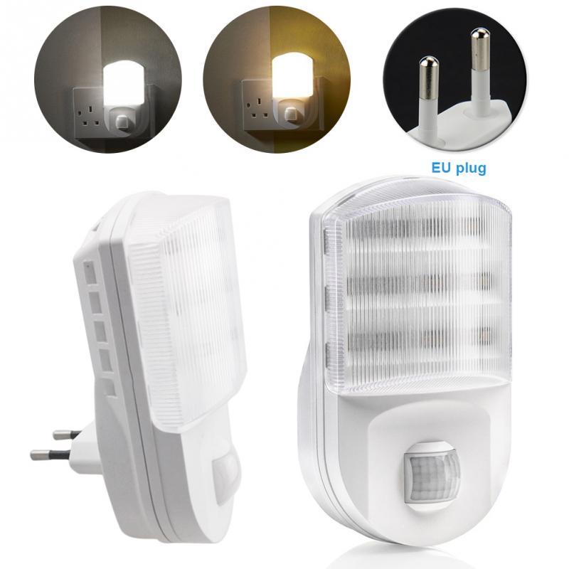 EU Plug Infrared 9 LED Night Light Socket PIR Human Body Motion Sensor Lamp Hallway Bedroom AC 220V White цена