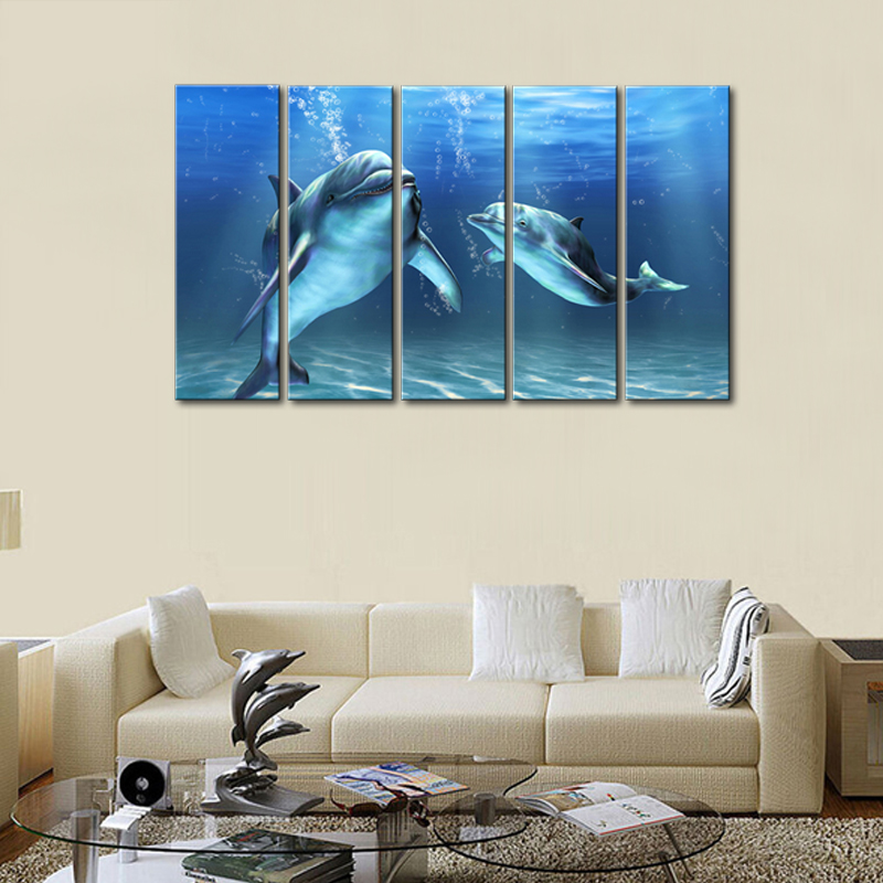 Seascape Painting 5 Picture Combination Art Modern Artwork Dolphin Printed On Canvas Decorate Living Room Office Gifts