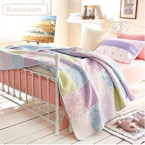 FADFAY Queen Size Girls Romantic Rustic Style Summer Quilts And Blankets Shabby Pink And Purple Comforters And Bedspreads
