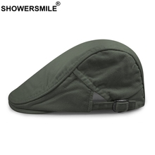 SHOWERSMILE Mens Beret Cotton Adjustable Army Green Flat Cap Women Solid Vintage Colorful Ivy Summer Breathable Duckbill