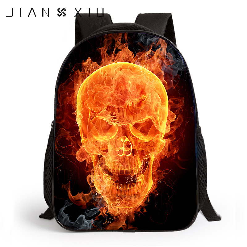 JIANXIU Children 3D Printing Backpacks School Bags Backpack Skull Head Animal Wolf Tiger Dog Cartoon Kids
