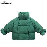 WABOOC Girl Puff Sleeve Cotton Jacket 2018 Winter New Heavyweight Girls Wear Bubble Sleeve Down Cotton Coat Dress Clothes