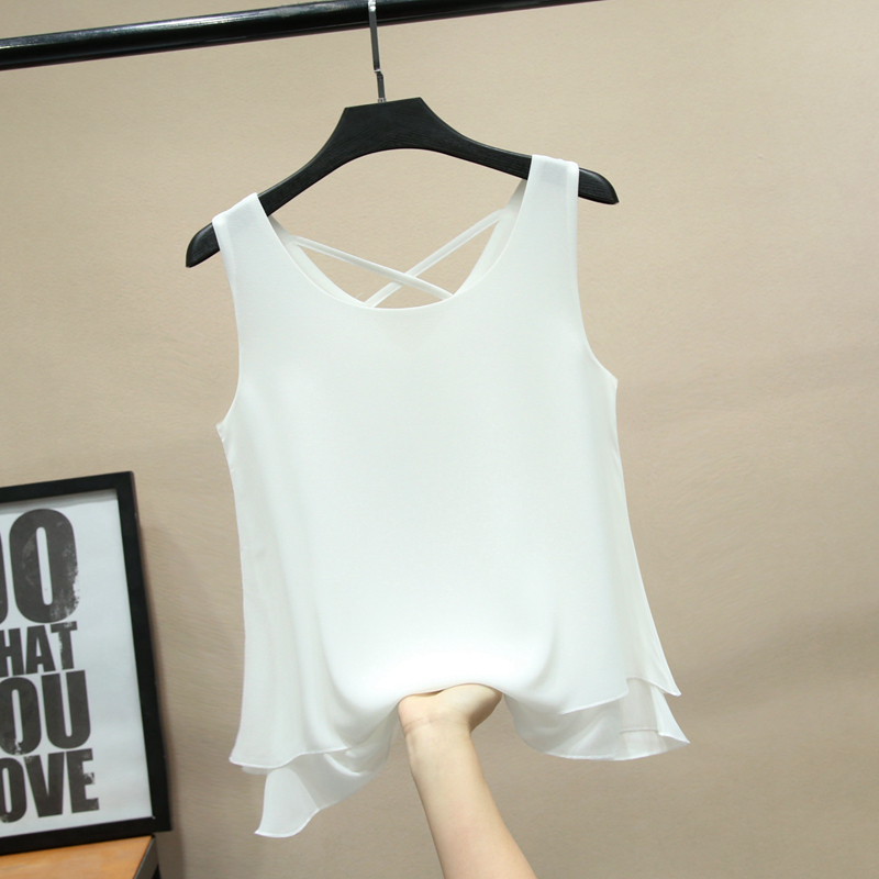 2019 Fashion Brand Sleeveless Women's Blouse Summer Chiffon Shirt Sheer O-Neck Casual Blouse Plus Size 4XL Loose Female Tops