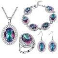 Plata de ley 2016 de plata de Sistemas de la joyería de Lujo Ronda Rainbow Crystal Sistemas de La Joyería 925 Pendientes de Plata/Colgante/Collar/pulsera