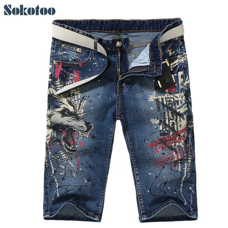 Sokotoo Men's fashion slim wolf print   jeans   Male casual knee length stretch denim shorts