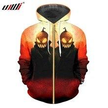 UJWI Hombres Nuevo creativo rojo calle ropa 3D impreso calabaza Halloween tamaño  grande hombre 6XL Zip Hoodies d54bef51818e