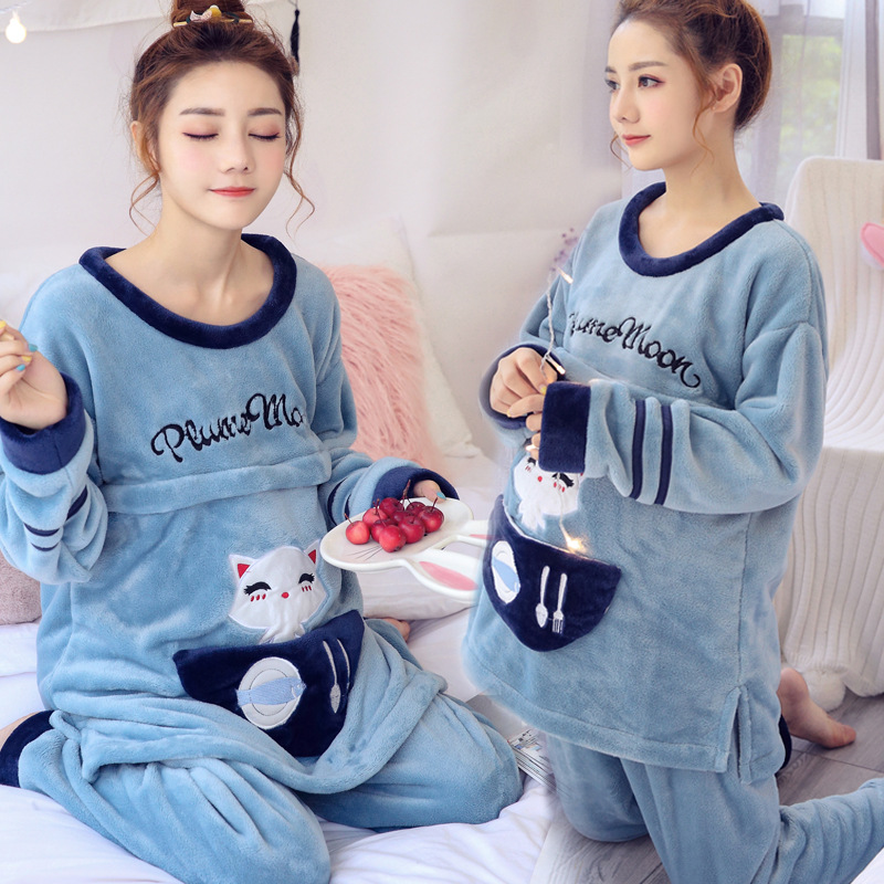 цены Autumn Winter Thickened Coral Velvet Maternity Pajamas Cartoon Kitty Warm Postpartum Breastfeeding Pregnant Woman's Sleepwear