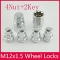 4Nut + 2Key 12x1.5 Сплава Колеса Замки Гайки Anti Theft For the wheel ford Hyundai chevrolet buick Kia Mazda серии