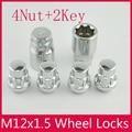 4Nut + 2Key 12x1.5 Wheel Locks Tuercas Antirrobo Para la rueda de Aleación de ford Hyundai chevrolet buick Kia Mazda serie