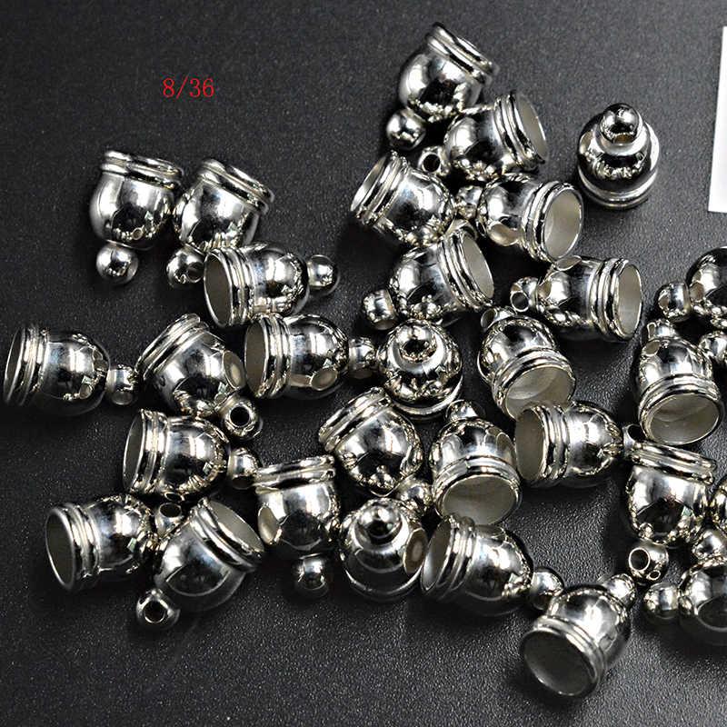 FLTMRH 18 ชิ้น 8 มิลลิเมตร CCB End Caps Clasps Fit หนัง Gunmetal/ทอง/โรเดียมลูกปัด Crimp End หมวกสำหรับ DIY ผลการค้นหาเครื่องประดับ