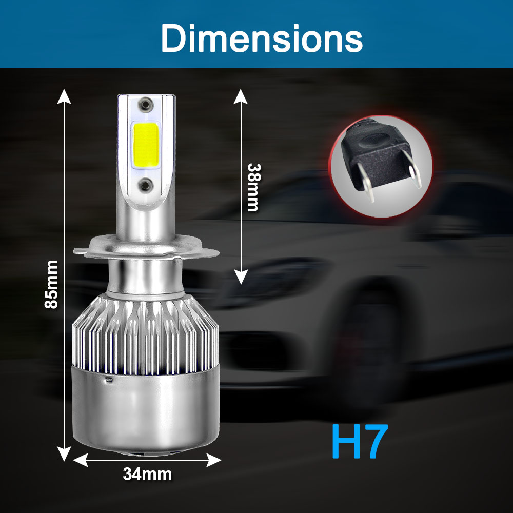 Image 4 - 2Pcs Car Lights Bulbs LED H4 H7 9003 HB2 H11 LED H1 H3 H8 H9 880 H27 9005 9006 HB4 H13 9004 9007 Auto Headlights 72W COB 6000K-in Car Headlight Bulbs(LED) from Automobiles & Motorcycles