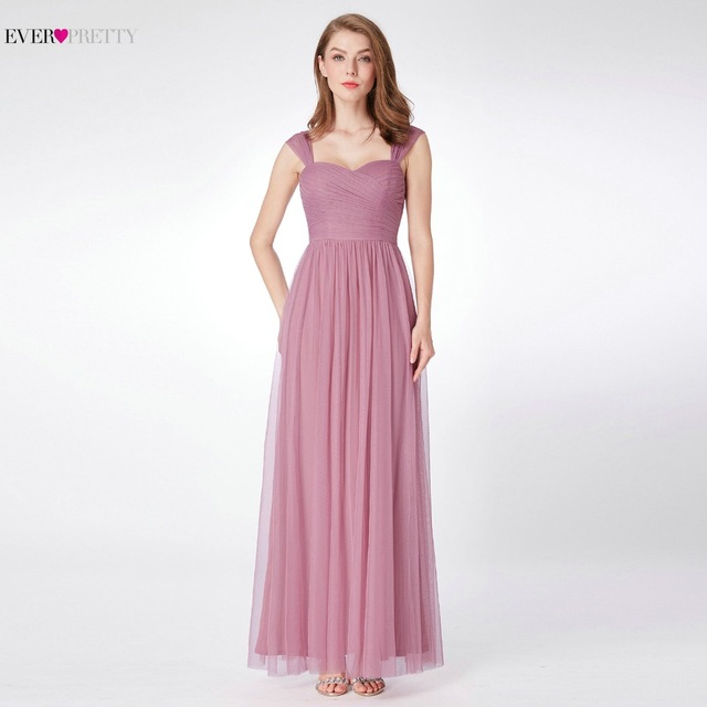 d819a482bd7 Ever-Pretty Tulle Bridesmaid Dress for Wedding Party EP07304 A Line Simple  Wedding Guest Dress Women robe demoiselle d honneur