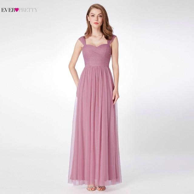 fd5ae0df3a Ever-Pretty Tulle Bridesmaid Dress for Wedding Party EP07304 A Line Simple Wedding  Guest Dress Women robe demoiselle d honneur