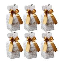 Marble Wedding Treat Boxes Fishtail Candy Chocolate Box Paper Gift Favor Boxes Party Supplies(China)